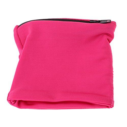 Homyl Sport Schweißarmband mit Reißverschluss Tasche, 9 Farben wählbar - Rose Rot