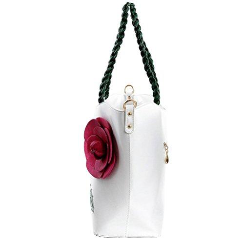 Honeymall borse tote donna Fiori PU Pelle Moda Ragazze Bianca Bianco La Calidad De Italia Barata 7bWYC