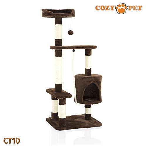 Cozy Pet Deluxe - Rascador de árbol de gato multinivel con centro de actividades para rascar juguetes con sisal resistente en chocolate CT10-Chococ.