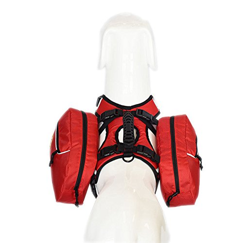 asocea Vest Hund Harness Satteltaschen, 2herausnehmbaren Packungen Rucksack für Reisen Camping Wandern Reisen