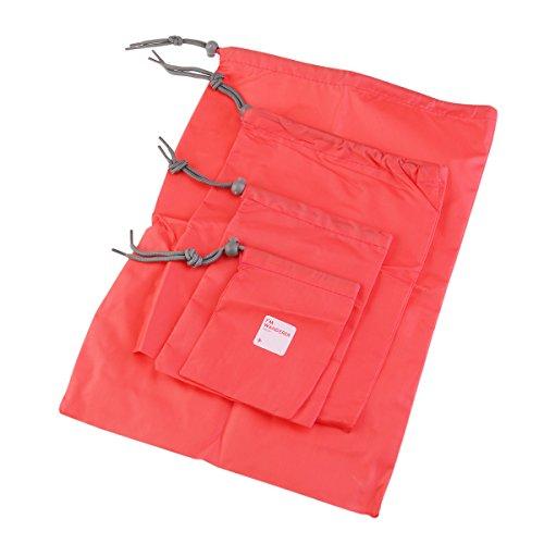 ULTNICE Reisetaschen Set, 4 Größe Wasserdichte Nylon Organizer Tasche mit Tunnelzug für Schlüssel / Bücher / Hygieneartikel / Mobiltelefone, ideal für den täglichen Gebrauch Reisen Wandern Camping Rot