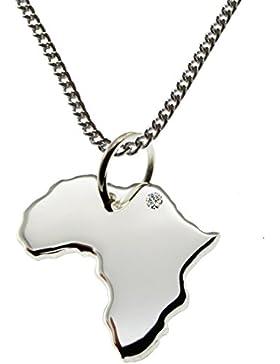 50cm Halskette + Afrika Anhänger mit einem Brillant 0,015ct an Ihrem Wunschort in 925 Silber