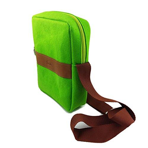 Venetto Umhängetasche Herren Damen Unisex Schultertasche Freizeit Business Tasche aus Filz mit Echtleder-Applikationen (Schwarz Meliert) Hellgrün
