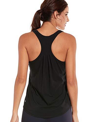 CRZ YOGA Damen Sport Shirt Pima Baumwolle Sport Tank Top -Laufen Fitness Funktions Shirt Schwarz S(38)