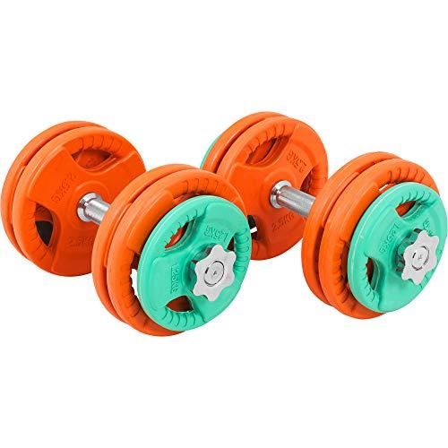 GORILLA SPORTS® Kurzhantel-Set 30 kg Gummi Gripper - Hantelstangen, Gewichte und Sternverschlüsse
