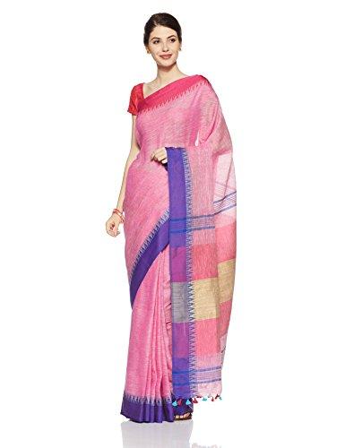 Gocoop Linen Saree With Blouse Piece (GCJRSLISAA0270_Pink_One Size)