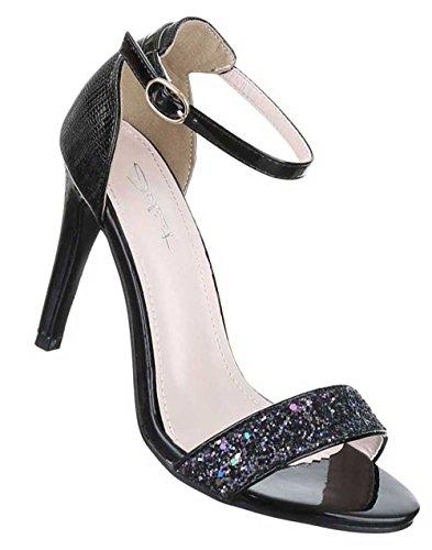 Damen Sandaletten Schuhe High Heels Pumps Schwarz Schwarz