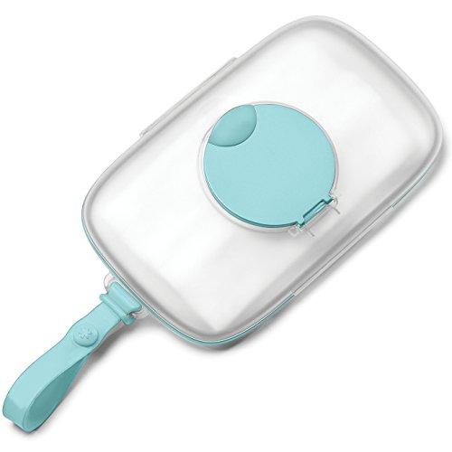 Skip Hop Grab und Go Feuchttücherbox, aus Silikon mit Klickverschluss, mit Silikondichtung, türkis (Pvc-boden-boxen)