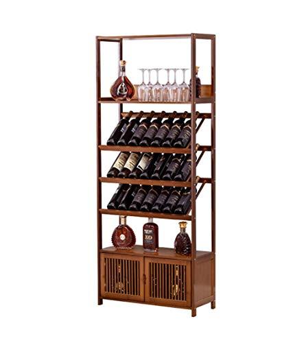 KOSHSH Hölzern Weinregal Mit Flaschenglasschale Weinlagerschrank Elegantes Ausstellungsregal 2 Türen 5 Gestelle Esszimmermöbel 70X30x170cm -