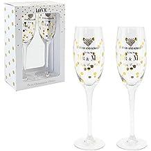 Par de copas de champán para boda, Personalizables, lunares, con corazón de cristal, para novio y novia