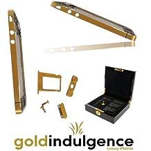 Auténtica 24ct chapado en oro iPhone 44G midplate marco chasis con botones/teclas, SIM bandeja, tornillos y lujosa caja de presentación