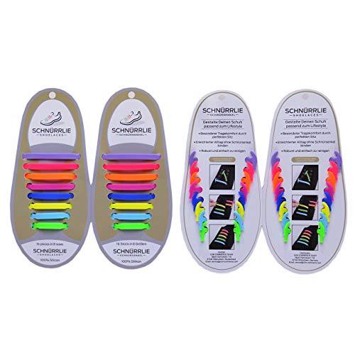 SCHNÜRRLIE Elastische Silikon Schnürsenkel - Der innovative Schnürbänder Ersatz - Mit deutscher Einfädel-Erklärung (16 Schnürrlie's in Bunt)