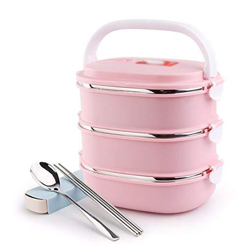 Home Live Lunch Boxen lunch bento box container Edelstahl Isolierung rechteckig rosa, 3 Schichten 20 * 15 * 18cm - Rosa Erwachsenen-lunch-box