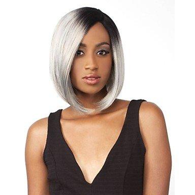 HJL-Court tout droit argent gris 1 b/Silver Lace synth¨¦tique perruque Front naturel noir/gris pour femmes , 12 inch