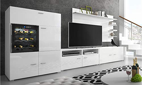 SelectionHome - Mueble salón Comedor con vinoteca, Acabado Blanco Mate y Blanco Brillo Lacado, Medidas: 295 x 57/40 x 175 cm de Altura