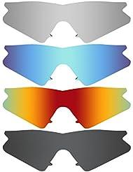 Mry 4paires polarisées Lentilles de remplacement pour Oakley M Frame Heater Vented Sunglasses-stealth Noir/rouge Feu/ICE Bleu/argent Titane