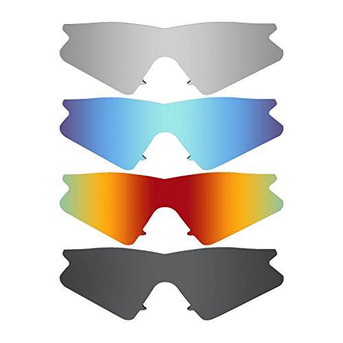 MRY 4Paar Polarisierte Ersatz-Gläser für Oakley M2Rahmen Sunglasses-Stealth schwarz/fire rot/Ice blau/Silber Titan