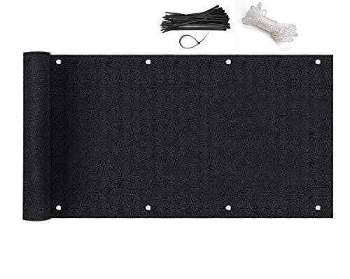 Sekey Brise-Vue pour Balcon Couverture de confidentialité Écran HDPE Vent Protection UV Opaque Résistant aux Intempéries 90 x 600cm, avec Oeillets et Cordons, Noir
