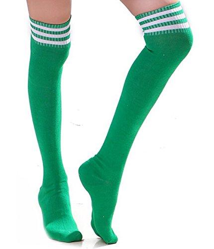 TININNA Frauen Mädchen Streifen Strumpfhose Socken Knie Schenkel hoch Strümpfe Socken Overknee Überknie Socken grün Weiß (Blickdicht Streifen-schenkel-hohe Strümpfe)