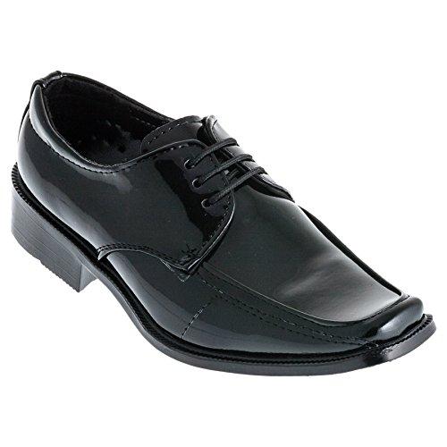 Festlicher Jungen Schnürschuh, innen Leder Größe 19-39 #540 Schwarz