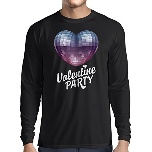 """Long Sleeve T-shirt VALENTINE'S DAY Party T-Shirt, 80er Mode - I Love You """"Gift Ideas (Small Black"""