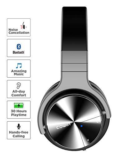 cowin E7 PRO [2018 aktualisiert] Active Noise Cancelling Bluetooth Kopfhörer mit Mikrofon Hi-Fi Deep Bass Wireless Kopfhörer über Ohr 30H Spielzeit für Reisen Arbeit TV Computer Telefon(Schwarz) - 3