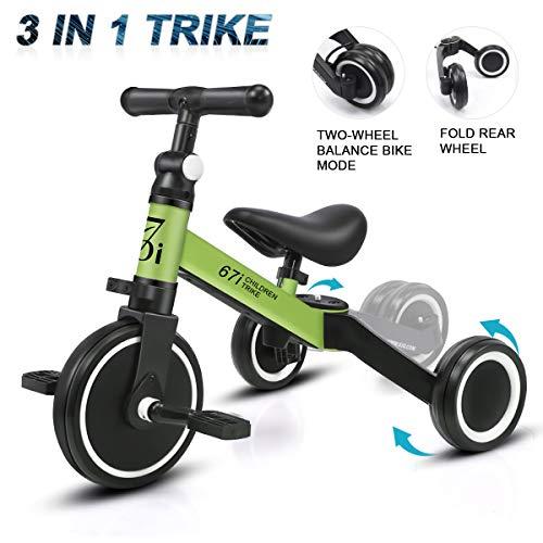 KORIMEFA 3 en 1 Vélo Draisienne Tricycle Évolutif pour Enfants 1-2,5 Ans Premier Vélo sans Pédale pour Bébés Filles Garçons Selle et Guidon Réglable (Vert)