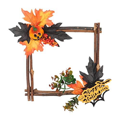 Hauptdekoration,Hängende Verzierung hölzerne Halloween Hängen Ornament Kürbis Quadratische Form Eisen Wand Ornament Hängen Dekor für Haus Bar Hausgarten Party - Süße Candy Bar Kostüm