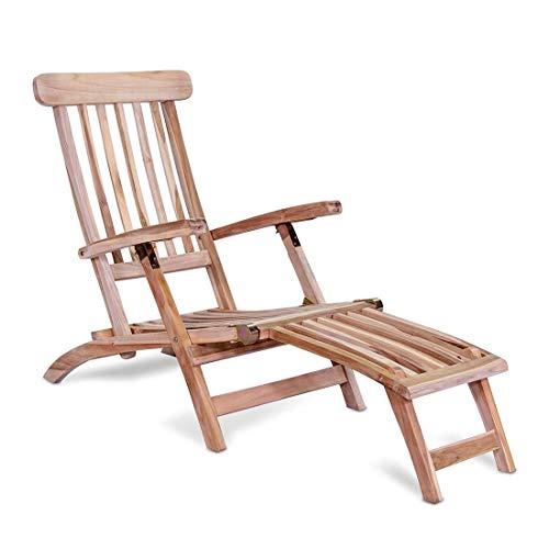 OUTLIV. Holzliege Steamer Deckchair Teak Outdoor Liege Terrassenliege Balkonliege wetterfest