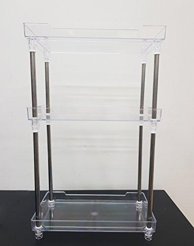 Takestop® mensola scaffali plexiglass portaoggetti porta oggetti 3 ripiani 70083 per cucina bagno make up nail art estetista 32x18x47.5cm