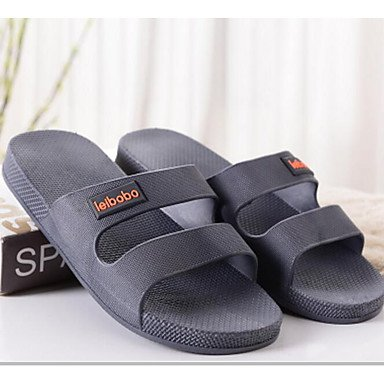Los hombres sandalias Confort Casual Primavera pu Azul gris plana negra US9.5 / EU42 / UK8.5 / CN43