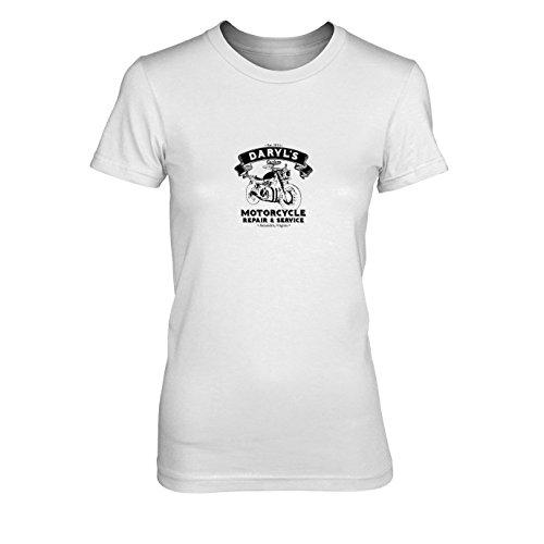 Daryl's Motorcycle Service - Damen T-Shirt, Größe: XL, Farbe: weiß