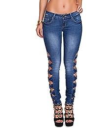 24brands Damen Jeans Röhrenjeans Skinny Jeans Hose mit Schleifchen - 2739