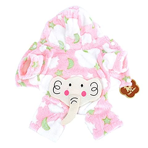 Ranphy Dog Cat Fleece Dog Pajamas Elephant Dog Apparel Hoodie Chihuahua Clothes Pet Halloween Costume Doggy Outfits Pink