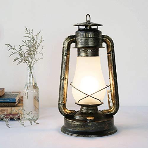 KSW_KKW Vintage rustikale Akzent altmodische elektrische Laterne Öllampe mit Edison LED Birne Bronze Rost Finish Nachttisch Schreibtisch Tischlampen -