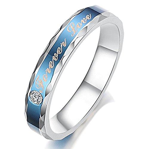 KONOV Schmuck Damen-Ring, Partnerringe, Freundschaftsringe, Zirkonia Diamant Edelstahl, 4mm Klassiker Forever Love, Blau Silber - Gr. 62