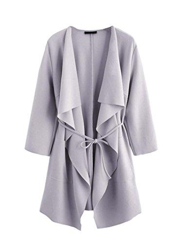 ROMWE Damen Leicht Mantel mit Wasserfallkragen Kordel Tasche Locker Knielang Outwear Jacke Hell Violett M