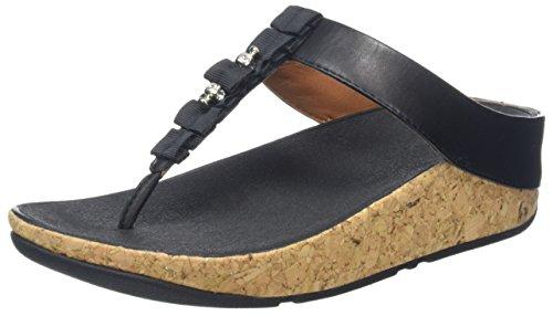 Fitflop Ruffle Toe-Thong Sandals, Sandali Punta Aperta Donna Black (Black)