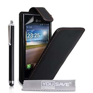 Tasche LG Optimus L5Tasche Schwarz PU Leder Flip Cover mit Eingabestift