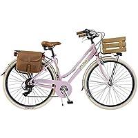 Via Veneto By Canellini Bicicleta Bici Citybike CTB Mujer Vintage Retro Via Veneto Aluminio con Cajita (Rosa, 50)