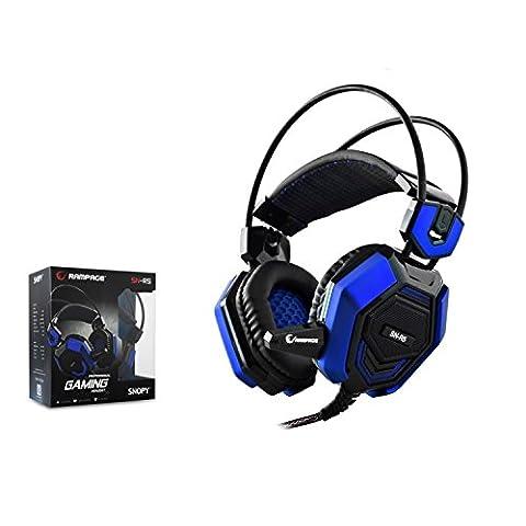 RAMPAGE SN de R5 stéréo Gaming Headset casque Gaming avec Microphone Casque PC, bleu