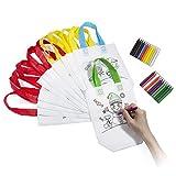 Vordas 12 Stück DIY Graffiti Taschen DIY Kinder Stoffbeutel Set, 12 Verschiedene Design + 24 Buntstifte, zum Basteln, für Kinder, zum Party