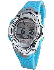 Montre femme quartz digitale turquoise sport chrono alarme etanche