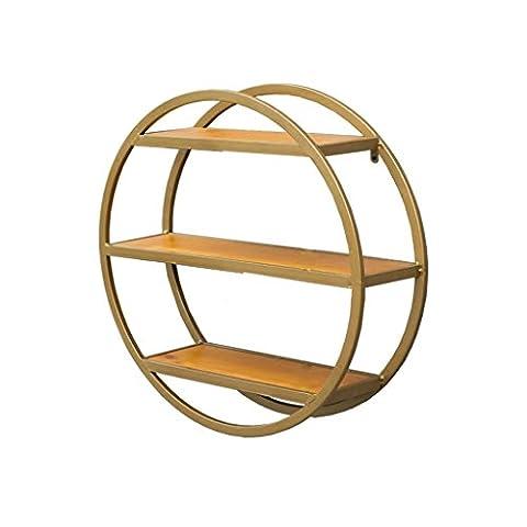 SAN QIAN WAN- Étagère 3 niveaux Danish Creative Round Decoration Urban Trends Étagère murale ronde en métal avec cadre Design noir 60x60cm Étagère ( Couleur : Brass )