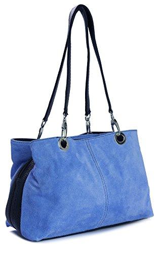 Big Handbag Shop kleine Damen Umhängetasche mit mehreren Reißverschlusstaschen aus Wildleder Electric blau - schwarz Trim