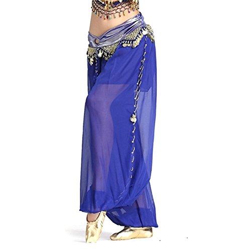 Damen Bauchtanz Hose Chiffon Glitzer Rock Mit Seitenöffnungsmünzen Tanzen Kostüm (Meerjungfrau Kostüm Für Verkauf)