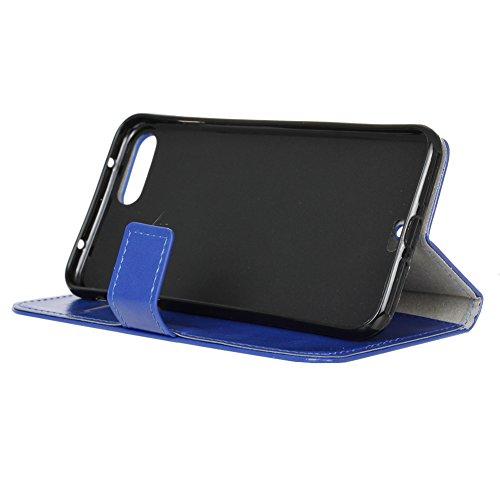 KM-WEN® Schutzhülle für Apple iPhone 7 (4,7 Zoll) Bookstyle Cowboy Jeans Tasche Muster PU Leder Wallet Case Flip Cover Hülle Tasche Schutzhülle mit Standfunktion Kartenfächer für Apple iPhone 7 (4,7 Z Crazy Horse Muster Blau