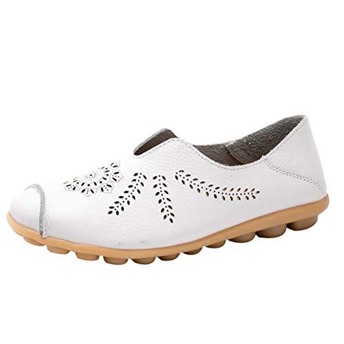 Mallimoda Damen Mokassin Hausschuhe Weiches Leder Loafers Casual Slippers Flache Schuhe Art 2-Weiß EU 43=Asian 44