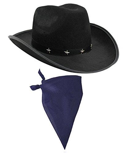 ör Set Schwarz Cowboy Hut mit Stern Nieten Band & farbige Paisley Bandana Wild West Western Sheriff Tuch Ilovefancydress® (Django Kostüm)