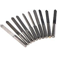 Homyl 10 piezas Mini CNC Juego de Brocas, 90 grados Herramientas de Trabajo V Forma PCB Juego Giratorio de Grabado CNC - Plata-0.8mm
